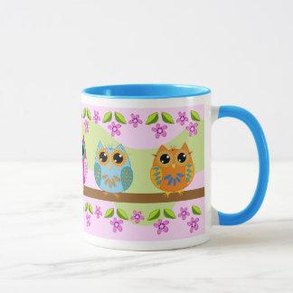 Cute Owls, flowers and leaves Mug