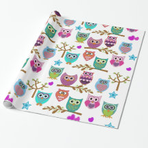cute owls gift wrap paper