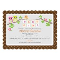 "cute owls girl baby shower 5"" X 7"" invitation card"