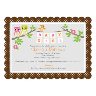 "cute owls girl baby shower 5"" X 7"" invitation card"