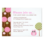 "Cute Owls Girls Birthday Party Invitation 5"" X 7"" Invitation Card"