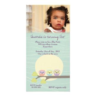 Cute Owls Girls Birthday Party Premium Invite Photo Card
