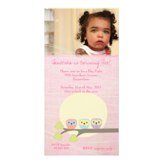 Cute Owls Girls Pink Birthday Party Photo Card