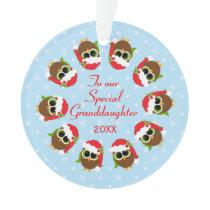 Cute Owls Grandchild Custom Christmas Ornament