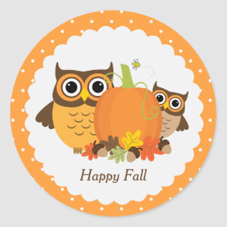 "Cute Owls ""Happy Fall"" Personalized Stickers"