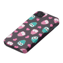 Cute Owls & Hearts iPhone 4 Case