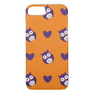 Cute owls hearts pattern Halloween iPhone 7 Case