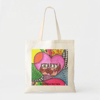 Cute Owls in Love art Budget Tote Bag