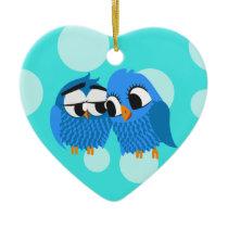 Cute Owls in Love Ceramic Ornament