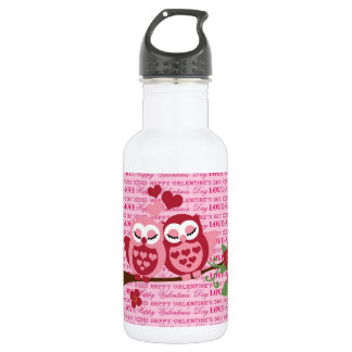 Cute Owls in Love Happy Valentine's Day 18oz Water Bottle