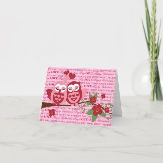 Cute Owls in Love Happy Valentine's Day Gifts Greeting Card
