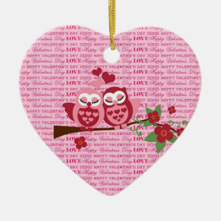 Cute Owls in Love Happy Valentine's Day Gifts Ceramic Ornament
