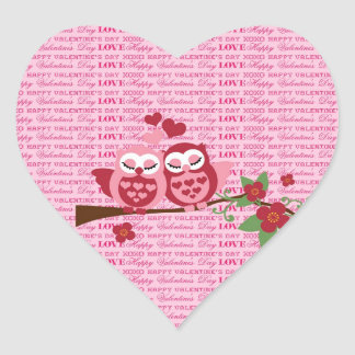 Cute Owls in Love Happy Valentine's Day Gifts Heart Sticker