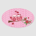 Cute Owls in Love Happy Valentine's Day Gifts Oval Stickers