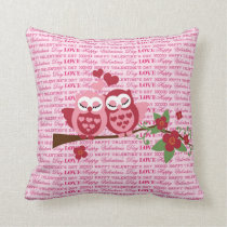 Cute Owls in Love Happy Valentine's Day Gifts Throw Pillow