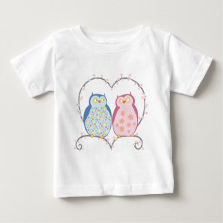 Cute Owls in Love Heart Pink Blue Clipart Baby T-Shirt