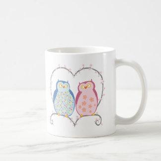 Cute Owls in Love Heart Pink Blue Clipart Classic White Coffee Mug