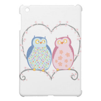 Cute Owls in Love Heart Pink Blue Clipart Cover For The iPad Mini