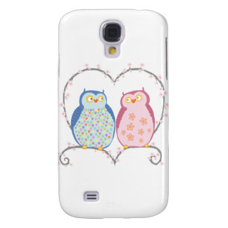 Cute Owls in Love Heart Pink Blue Clipart Samsung Galaxy S4 Cover