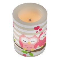 Cute Owls in Love on Branch Hearts & Stripes Flameless Candle
