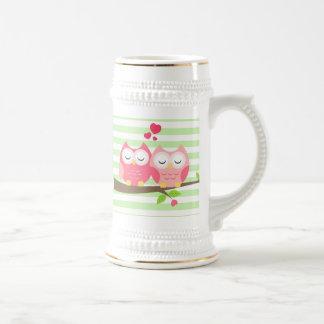 Cute Owls in Love on Branch Mint Stripes Beer Stein