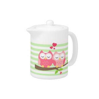 Cute Owls in Love on Branch Mint Stripes Teapot