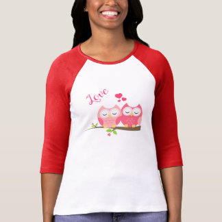 Cute Owls in Love on Branch with Hearts T-Shirt