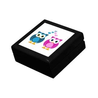 Cute Owls in Love - Pink and Blue Keepsake Box