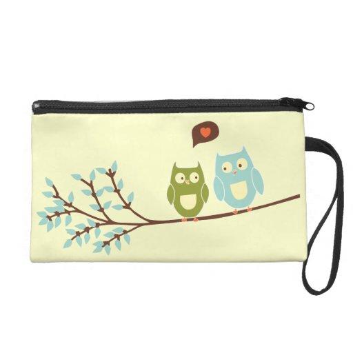 Cute Owls in Love Wristlet Bagettes Bag