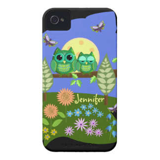 Cute Owls in Summer land & custom Name iPhone 4 Case-Mate Cases