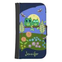 Cute Owls in Summer land & custom Name Galaxy S4 Wallet Case