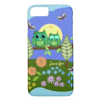 Cute Owls in Summer land & custom Name iPhone 7 Case