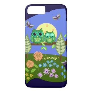 Cute Owls in Summer land & custom Name iPhone 7 Plus Case
