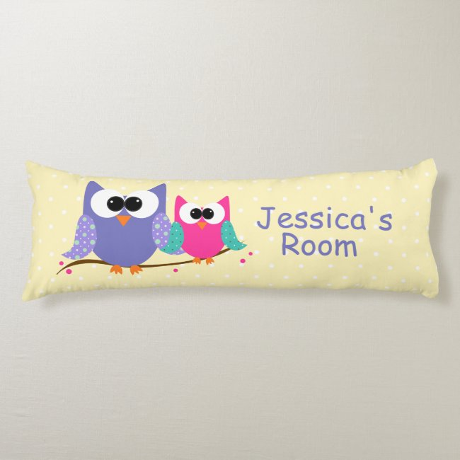 Cute Owls Kids Personalized Body Pillow