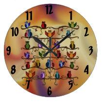 cute owls large clock