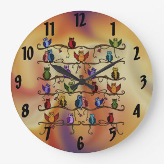 cute owls large clock