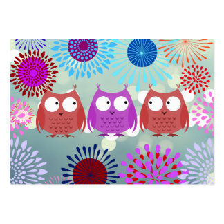 Cute Owls Looking at Each Other Flower Design Large Business Cards (Pack Of 100)