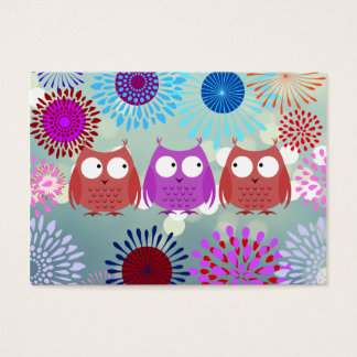 Cute Owls Looking at Each Other Flower Design Business Card