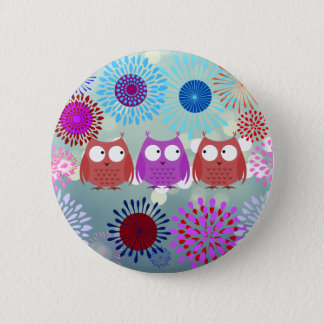 Cute Owls Looking at Each Other Flower Design Pinback Button