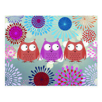 Cute Owls Looking at Each Other Flower Design Postcard