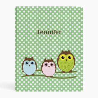 Cute Owls Mini Avery Binder
