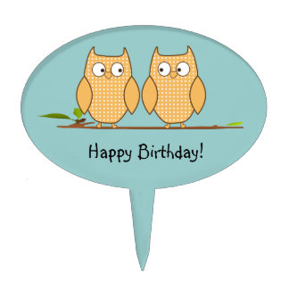 Cute Owls on a Branch Cake Pick