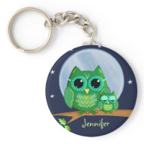 Cute owls on a branch & custom Name keychain