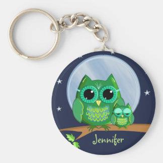 Cute owls on a branch & custom Name keychain