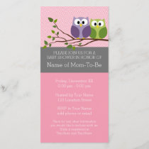Cute Owls on Branch Baby Girl Shower Pink