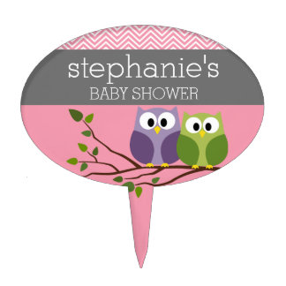 Cute Owls on Branch Baby Girl Shower Pink Cake Topper