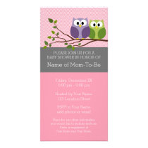 Cute Owls on Branch Baby Girl Shower Pink Card