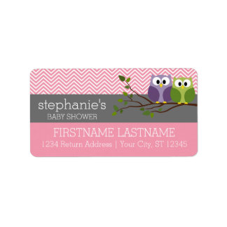 Cute Owls on Branch Baby Girl Shower Pink Label