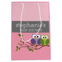 Cute Owls on Branch Baby Girl Shower Pink Medium Gift Bag