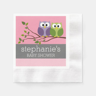 Cute Owls on Branch Baby Girl Shower Pink Paper Napkin